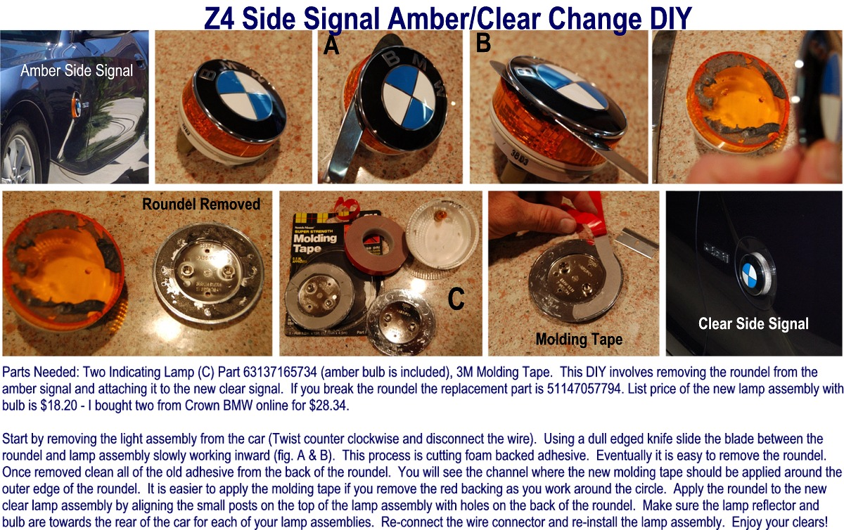 E85 Z4 Clear Side Signal Diy Low Cost